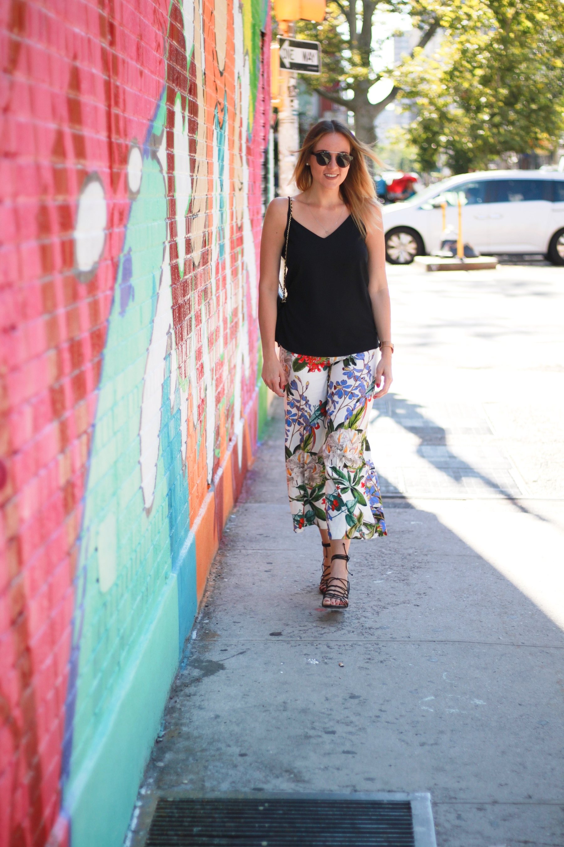 Flower culottes & lace up sandals (1)