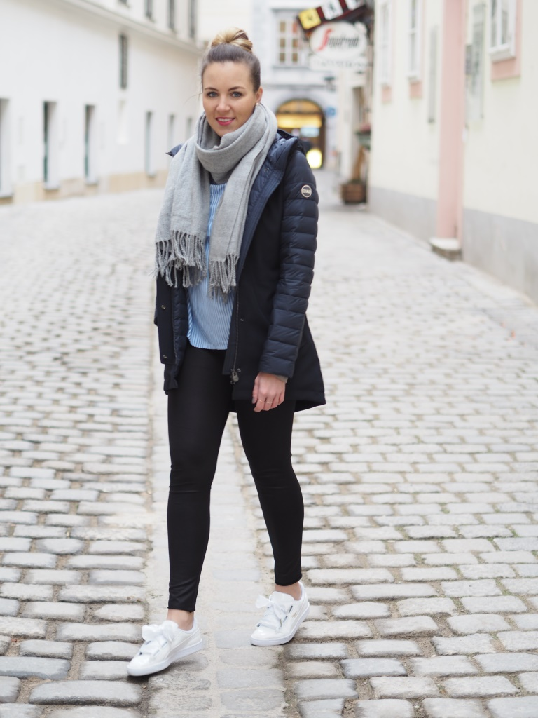 Weihnachtsessen Outfit.Outfit Cozy Colmar Parka Fruity Sky
